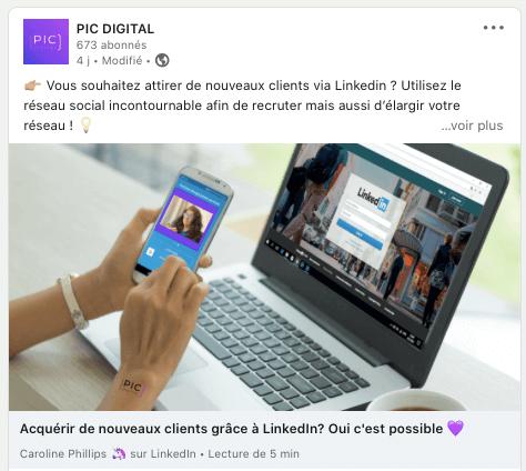 Privilégiez le contenu natif sur LinkedIn, Pic Digital